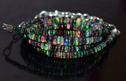 """A+++ Natural Ethiopian Black Opal Fire Opal Gemstone Beads 16""""Necklace AG#44"""