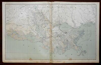 1861 SOUTHERN STATES SLAVE MAP DeSOTO BATON ROUGE EAST CARROLL FELICIANA LA huge