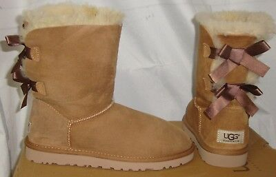 BOW Chestnut Suede Boots Women's Size US 5 NEW #1002954 (Bailey Bow Ugg Boots)