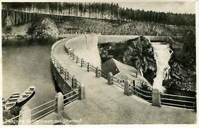 AK Goldentraum / Zlotniki Lubanskie ca. 1930 ? Talsperre m. Überlauf Ruderboote