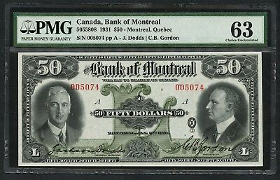 Canada Bank Of Montreal  50 1931  505 58 08 Pmg Choice Unc Tiny Mgn Tear Wlm4869
