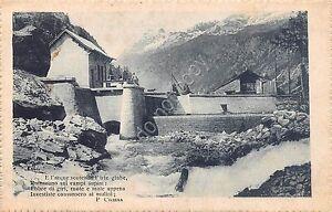 Cartolina-Postcard-abitazione-rurale-torrente-Poesia-Chiesa-1917