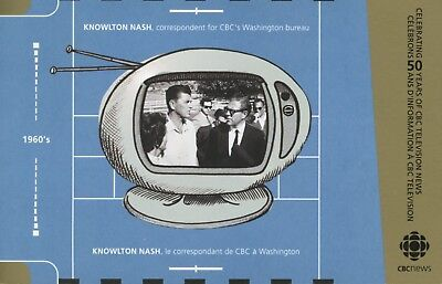 CBC News 50 Years Knowlton Nash Anniversary Canadian Broadcast Corp Postcard D25 ()