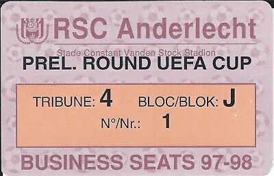 Ticket: Anderlecht - Poltava UEFA (12-8-97) carte Business Seats