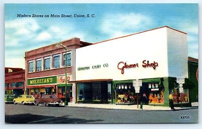 Postcard SC Union Main Street Stores Vtg Linen View Old Cars McLellan's (Union Street Stores)
