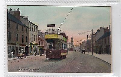 HIGH STREET, MUSSELBURGH: East Lothian postcard with a tram (C25903)