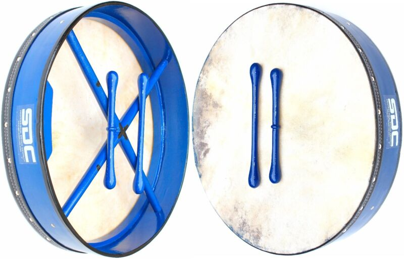 """BODHRAN BLUE 18"""" Large WITH BAG AND 2 BEATERS FREE SHIPPING"""