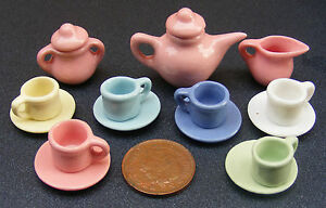 1-12-Scale-Ceramic-15-Piece-Multi-Coloured-Dolls-House-Miniature-Tea-Set-2182