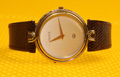 "Men's Vintage GUCCI ""4500M"" Quartz Watch Leather Band SWISS MADE"