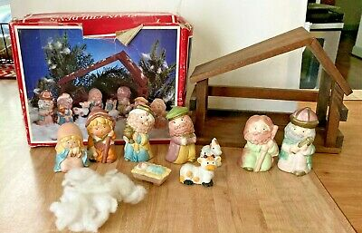 Children's Porcelain Nativity Set Wood Stable 10 pc 1988 IOB