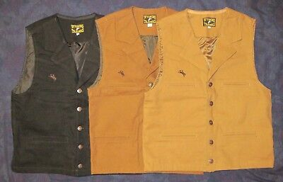 Cowboy Buckaroo Western Canvas Four Pocket Lapel Vest Wyoming - Vest Cowboy