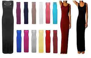 BNWT-Ladies-Women-Long-Maxi-Stretch-Dress-Size-8-10-12-14-S-M-M-L
