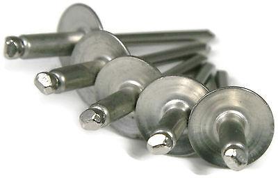 (Aluminum POP Rivets Large Flange - 4-2LF, 1/8 x 1/8 Gap (0.063 - 0.125) Qty-100)