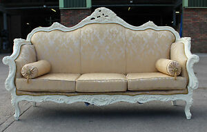 French Ornate Shabby Chic 4 Seater Sofa White Shabby Chic Ornate Antique Gold