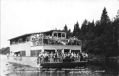 Twin Screw River Boat Tahquamenon River Trip  Newberry,MI 1940's RPPC Postcard