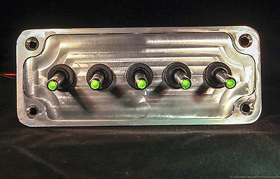 Led Toggle Switches - Green - W Billet Plate - Racing