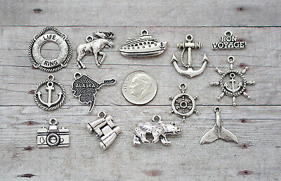 13pc or 5pc Alaska Cruise Charm Set Lot Collection /Moose, Whale Tail, Ship,Bear