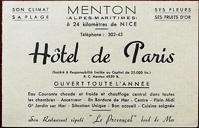 Hotel de Paris 24 Kilometres From Nice Antique Advertisement Card