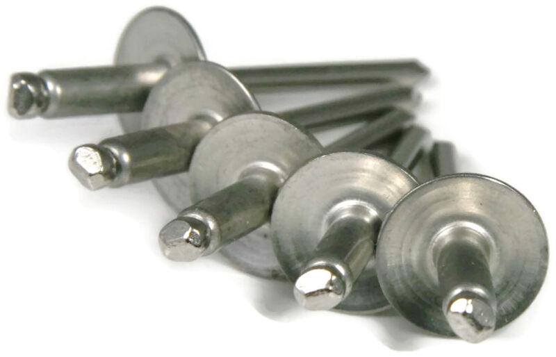 POP Rivets Large Flange ALL Steel - 6-8LF 3/16 x 1/2 Gap (.376 - .500) Qty-100