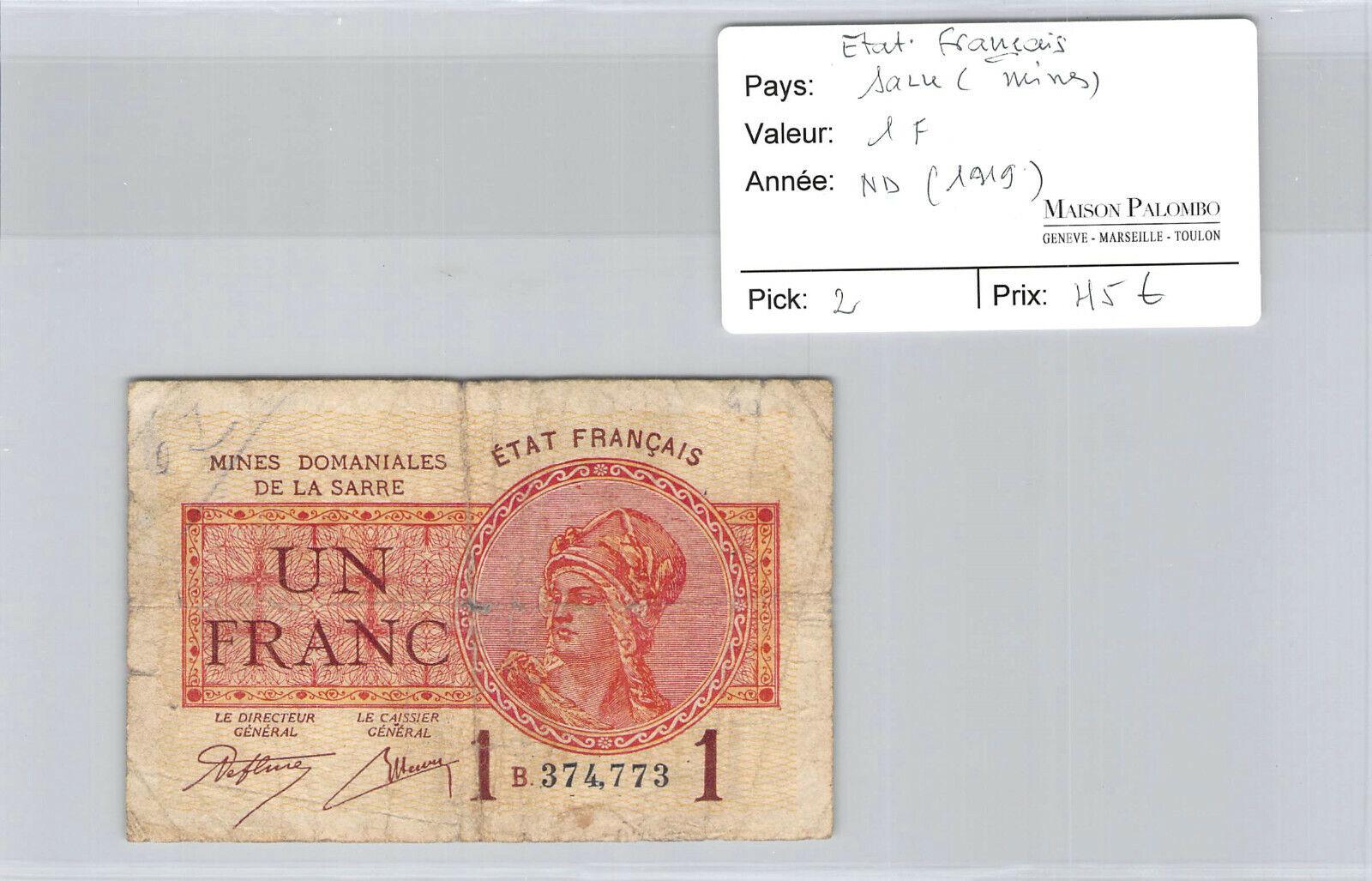 RECTO 1 franc Mines Domaniales de la Sarre Type 1920 - None
