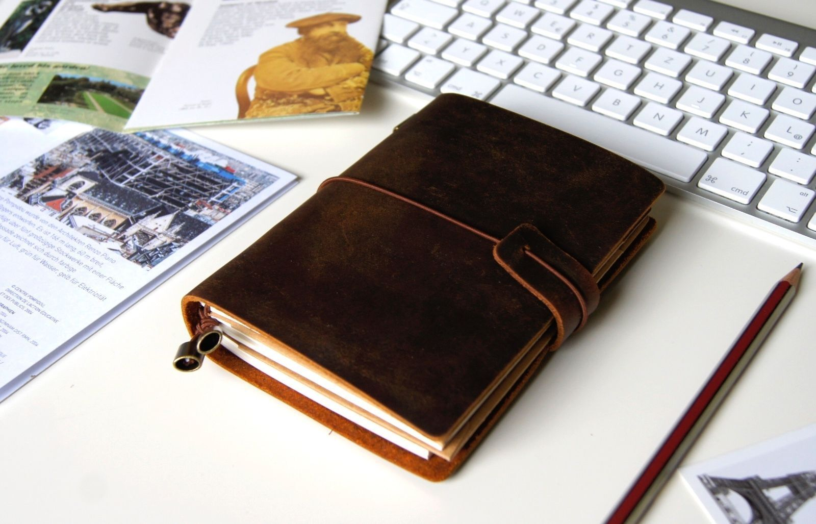 Traveler's Notebook | Notizbuch, hochwertiges Leder, Reisepassformat, Braun