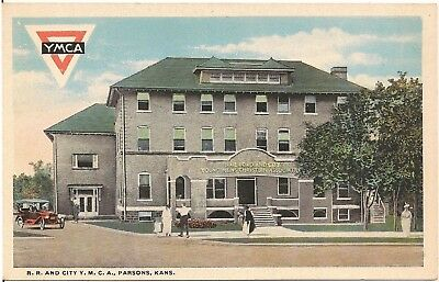 Railroad and City Y.M.C.A. in Parsons KS Postcard