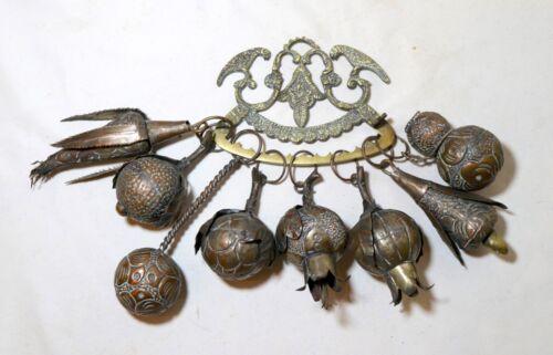 Antique Penca De Balangandan Brazilian handmade brass copper Amulet 8 Charms