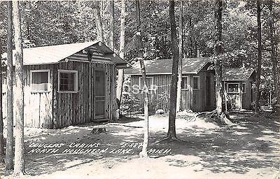 C42  Houghton Lake Michigan Mi Rppc Postcard 1947 Douglas Cabins