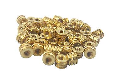 Qty 100 M3 3mm M3-0.5 Brass Threaded Metal Heat Set Screw Inserts - 3D (100% Heat Set)