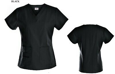 Medical Nursing Women Stretch Scrub Top Hospital Nurse Clinic Uniform Shirt