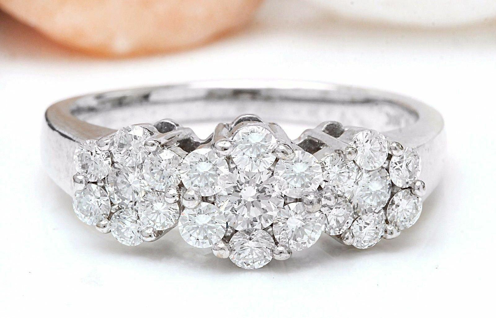 1.70 Carat Natural Diamond 14K White Gold Engagement Ring