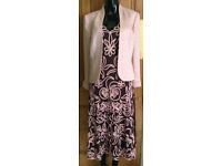 PHASE EIGHT Tapework Dress + Jacket + Wrap Size 14 Pink Brown Mother of The Bride