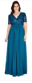 Occasion, party, TEAL chiffon & sequin maxi, cap sleeves, girls /ladies BNWT
