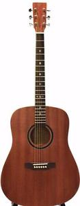 Top Solid Mahogany Acoustic Guitar with free guitar stand eTuner 5 picks iTS1600 full size