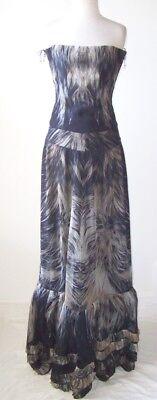 ROBERTO CAVALLI Silk Feather Print Maxi Skirt Corset Bustier Set Dress 40 4