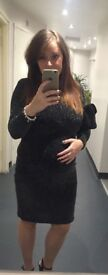 Topshop maternity black sparkly party (size 12)