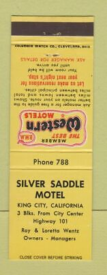 Matchbook Cover - Silver Saddle Motel King City CA Best