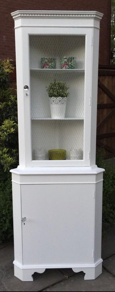 Corner Cabinet ~ White Shabby Chic Corner Unit