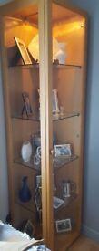 Glass/Wood Display Unit in Beech glass shelves & light. H185 cm x W47 cm x D43 cm.