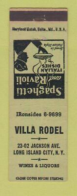 Long Island Italian - Matchbook Cover - Villa Rodel Italian Restaurant Long Island City NY