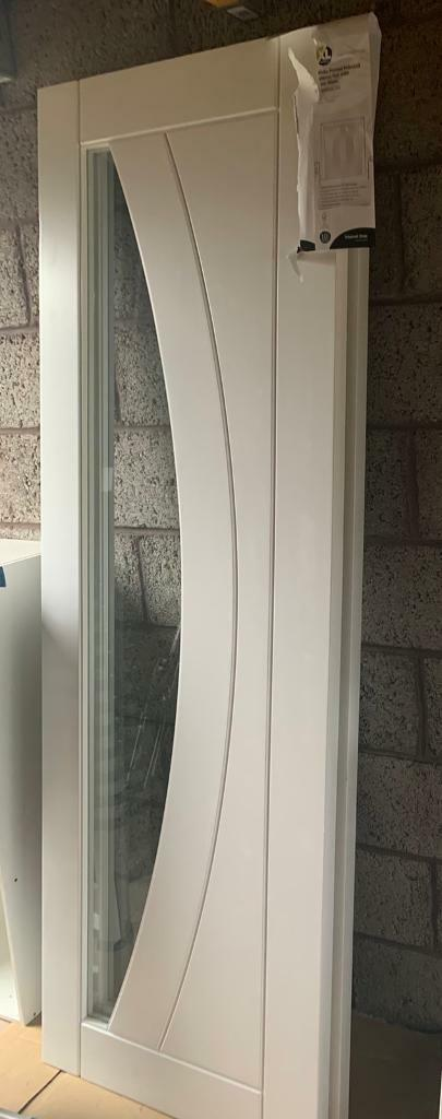 Xl joinery Salerno glass white paired doors