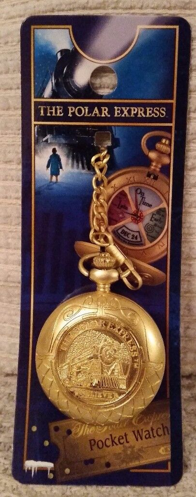 RARE WB THE POLAR EXPRESS WORKING CONDUCTORS POCKET WATCH NEW AND RARE