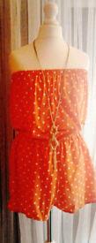 Ladies Orange & White Polka Dots Bandeau Boob Tube Playsuit Jumpsuit Shorts.Size 10.