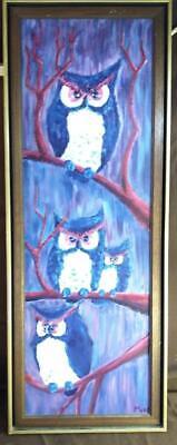 Vintage Original Owl Owls Birds Art Painting Tree Branches Artist Signed Framed
