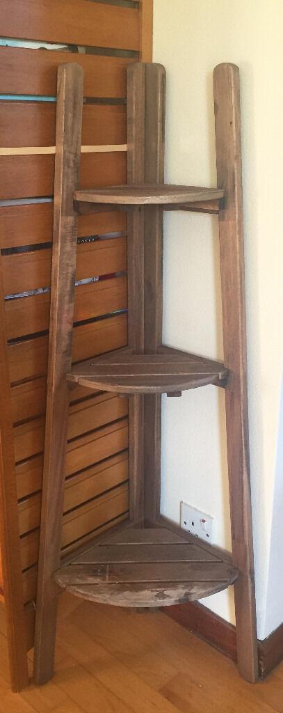 Small Wooden Corner Shelf Perfect Plant Stand Ikea