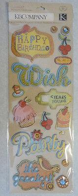 Company Chipboard - 9132 K&COMPANY Chipboard Stickers HAPPY BIRTHDAY, Party - 15pcs - 13