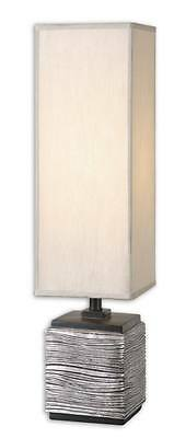 Modern TEXTURED SILVER Buffet Lamp TALL SHADE Contemporary Square Table ()