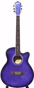 Purple acoustic guitar with free capo and strap iMusic45 brand new 38 inch for beginners