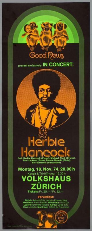 HERBIE HANCOCK – mega rare vintage original Zürich 1974 THRUST concert poster