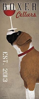 BOXER GERMAN DOG WINE CELLARS Retro Advertising Poster Art Print